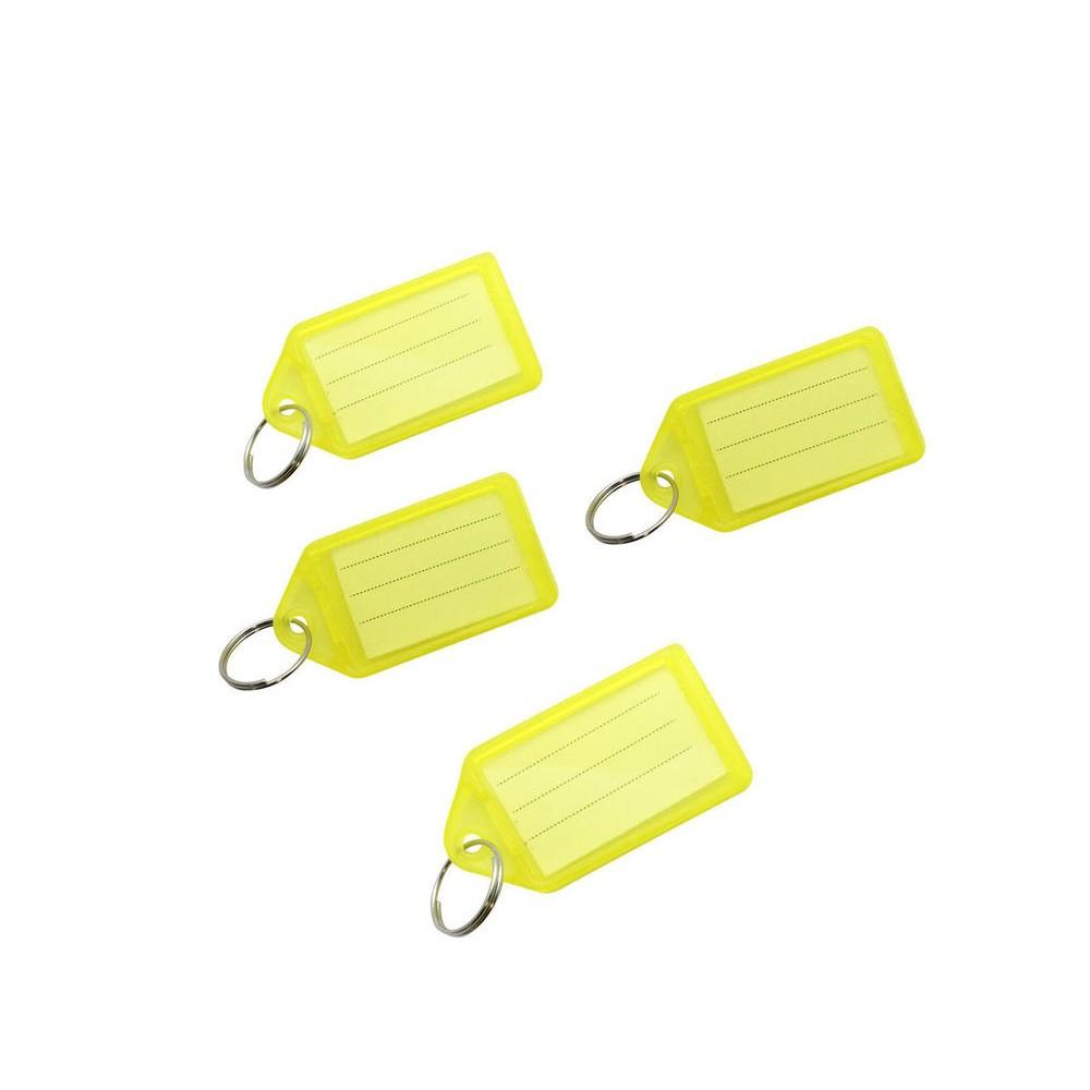Pack of 50 Large Yellow Identity Tag Key Rings - Sliding Fob Keyrings Coloured