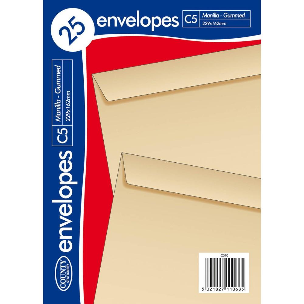 Pack of 25 C5 Gummed Manilla Envelopes