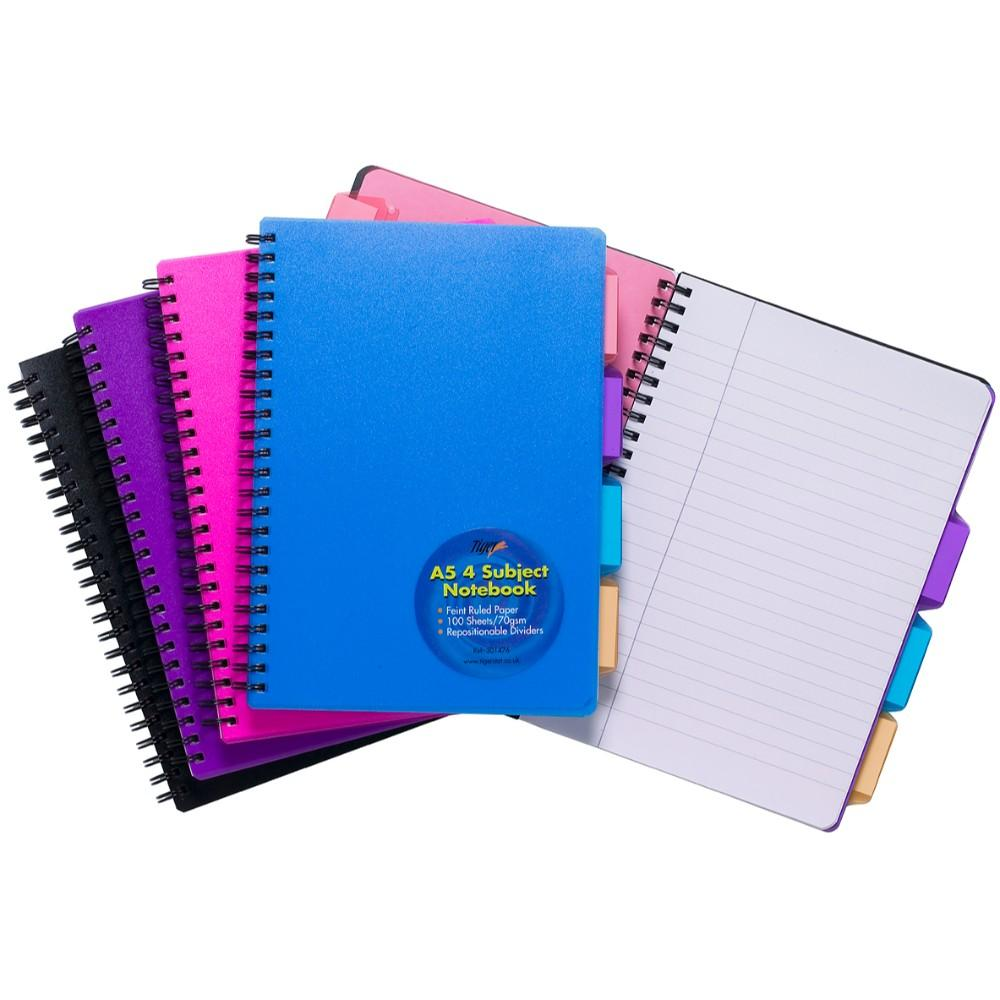 5 x A5 4 Part Subject Notebook