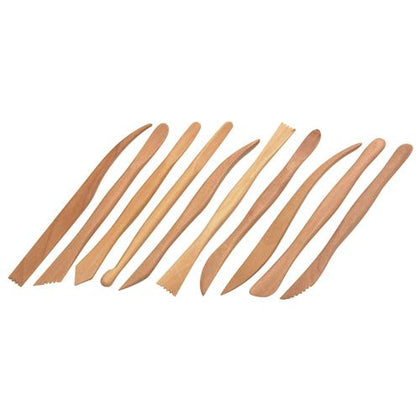 Set of 10 Wooden Modelling Tools