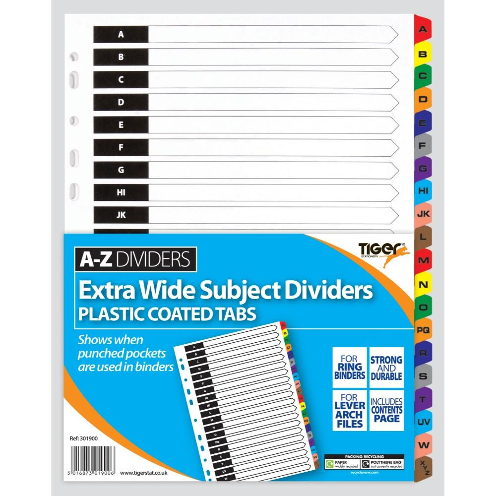 A4 A-Z Extra Wide Card Tab Divider