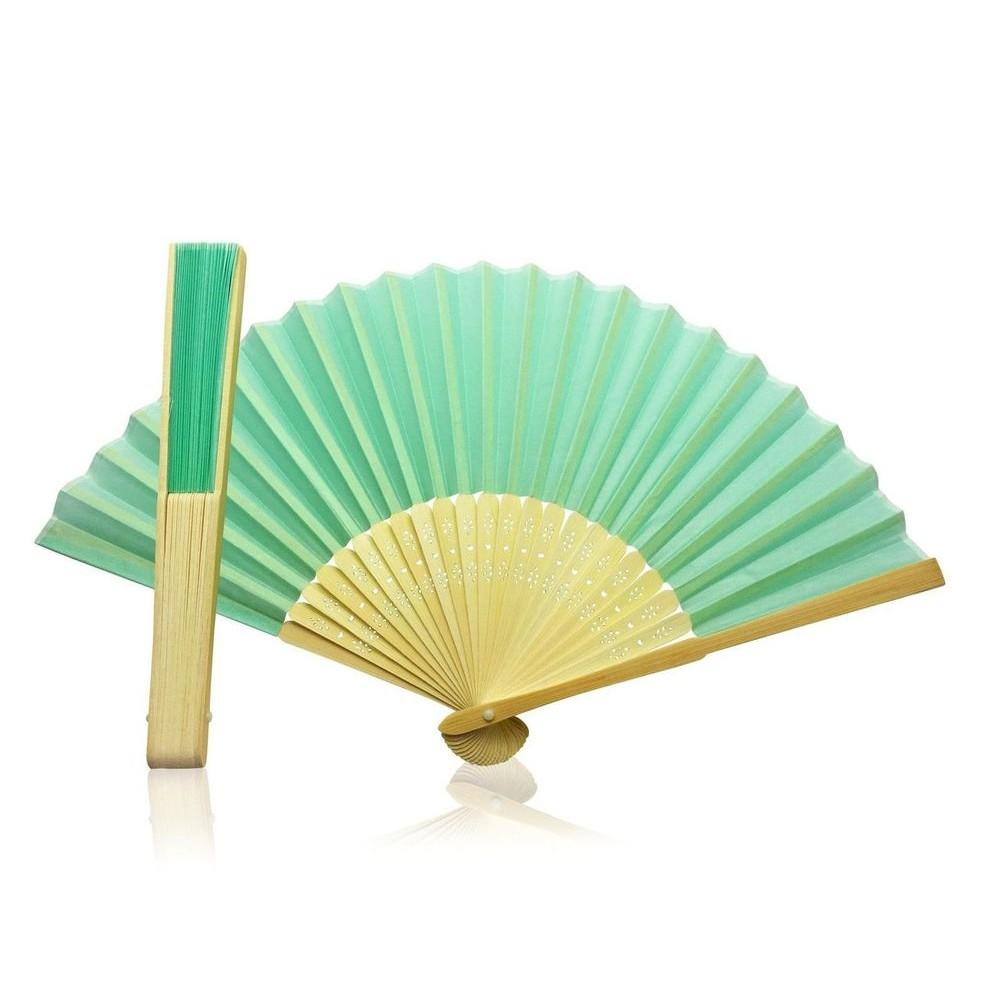 Light Blue Fabric Hand Held Bamboo and Wooden Fan