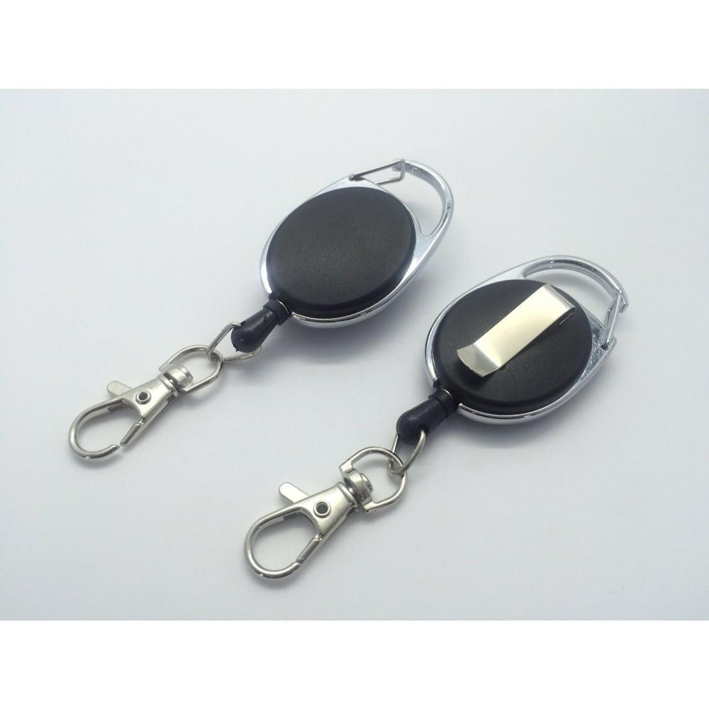 Black Solid Keyreel With Carabiner