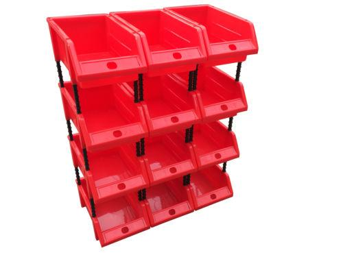 Pack of 12 Small Stackable Red Storage Picking Bins with 48 Riser Stands and Labels