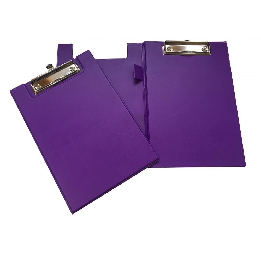 A5 Purple Foldover Clipboard with Pen Holder
