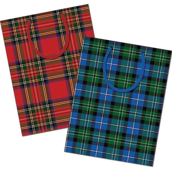 Pack of 12 Extra Large Tartan Design Gift Bags