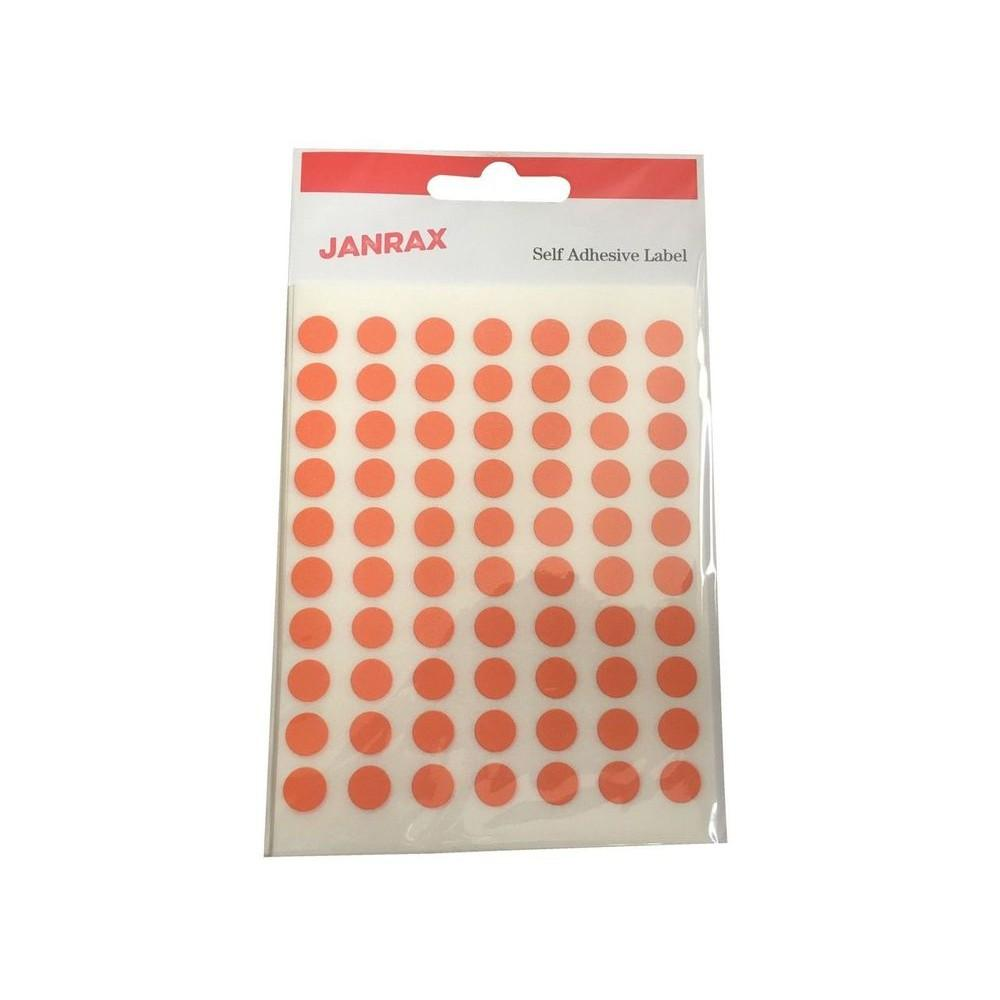 Pack of 560 Orange 8mm Round Labels - Stickers