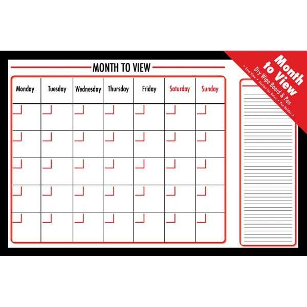 Monthly Dry wipe Planner Board