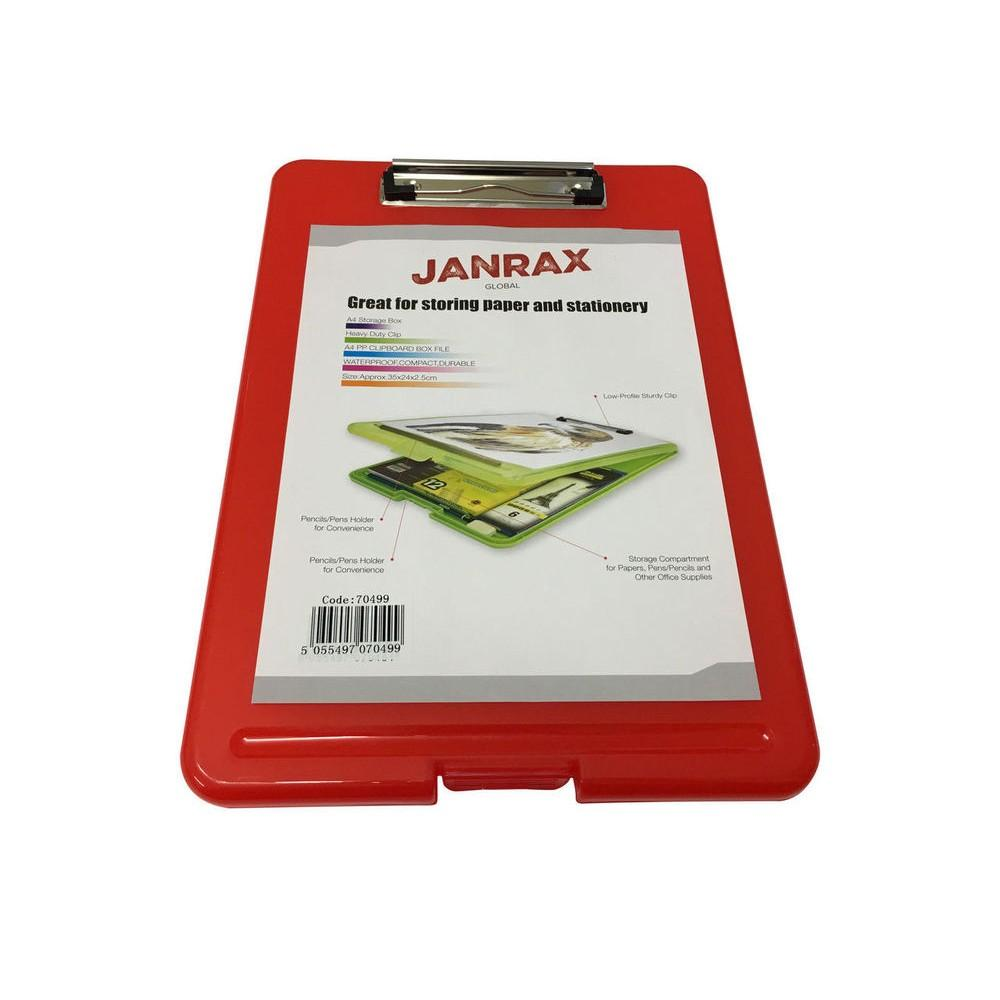 A4 Red Clipboard Box File - Storage Filing Case