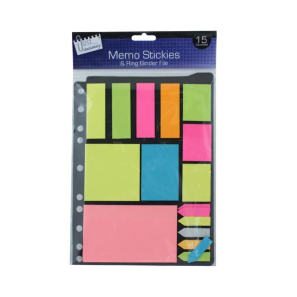 Folder Pack of Neon Memo Stickers and Ringbinder File