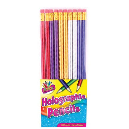 10 Holographic Rubber Tipped HB Pencils