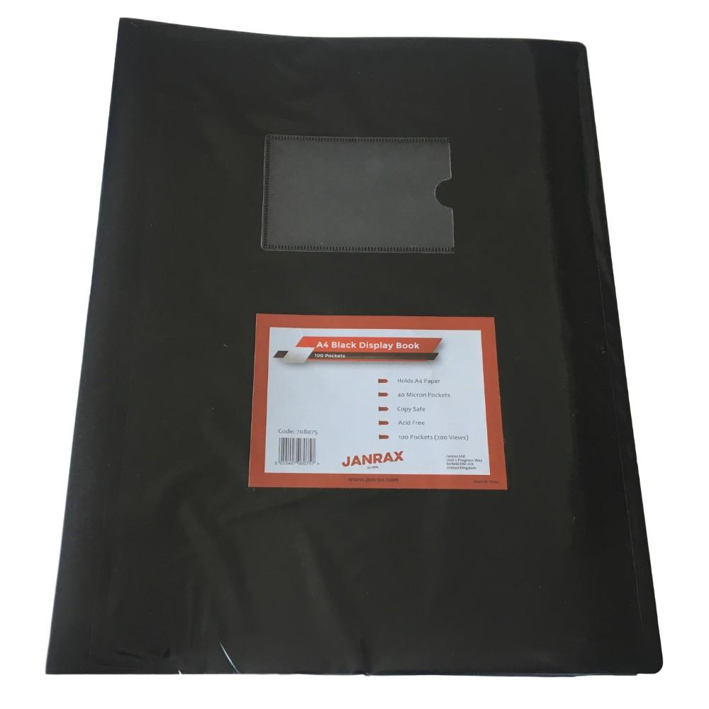A4 Black Flexible Cover 100 Pocket Display Book