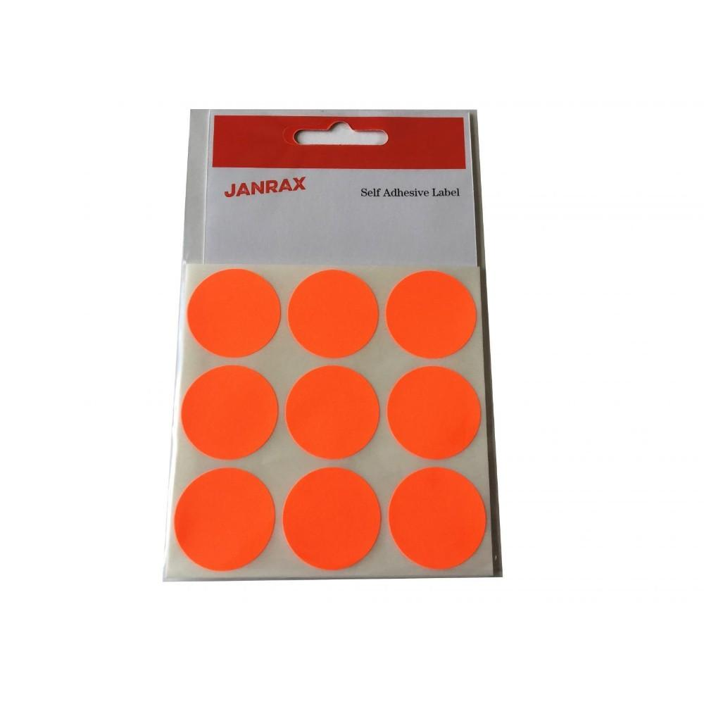 Pack of 36 Fluorescent Red 29mm Round Labels - Stickers