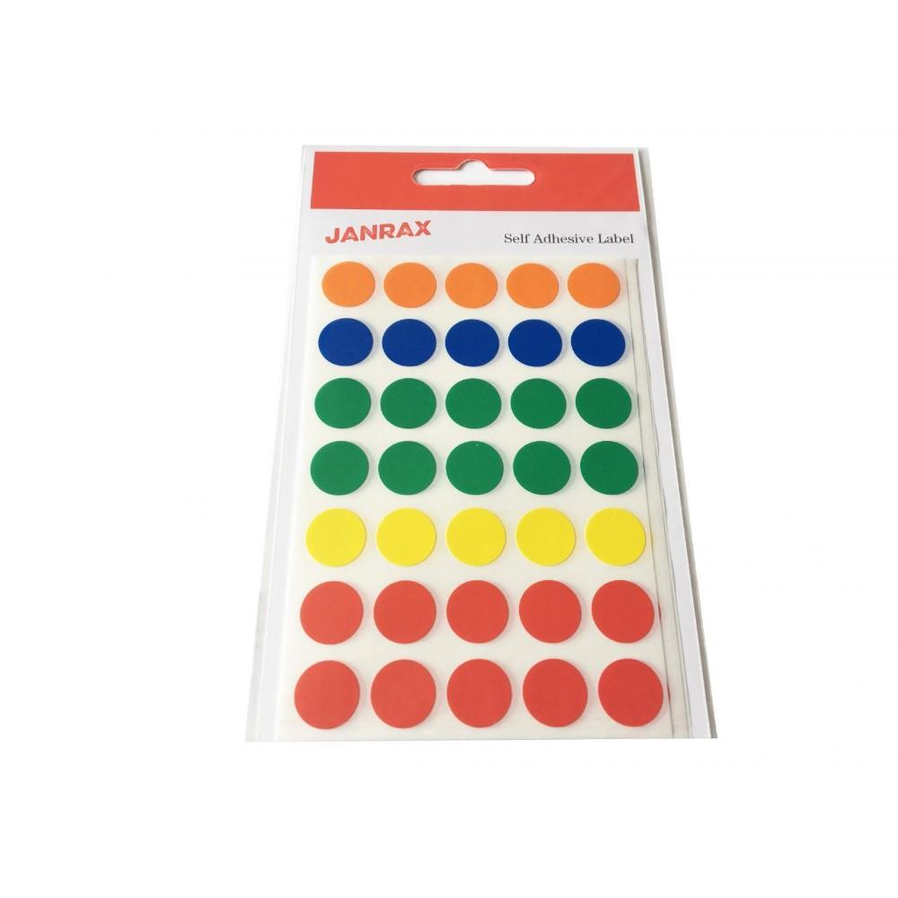 Pack of 140 Assorted Colour 13mm Round Labels - Stickers
