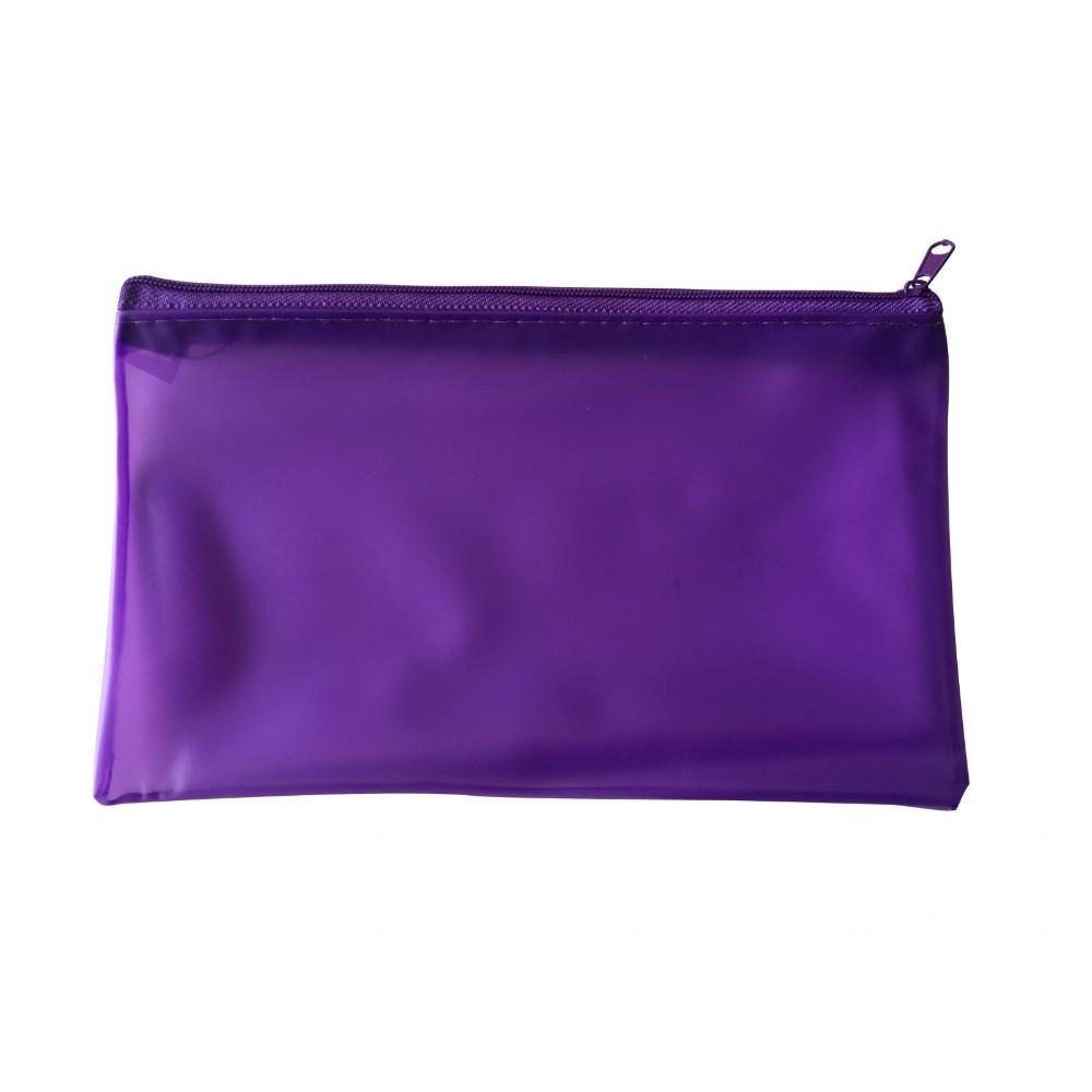 "8x5"" Frosted Purple Pencil Case - See Through Exam Clear Translucent"