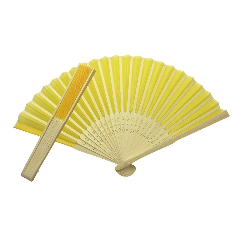 Yellow Fabric Hand Held Bamboo and Wooden Fan