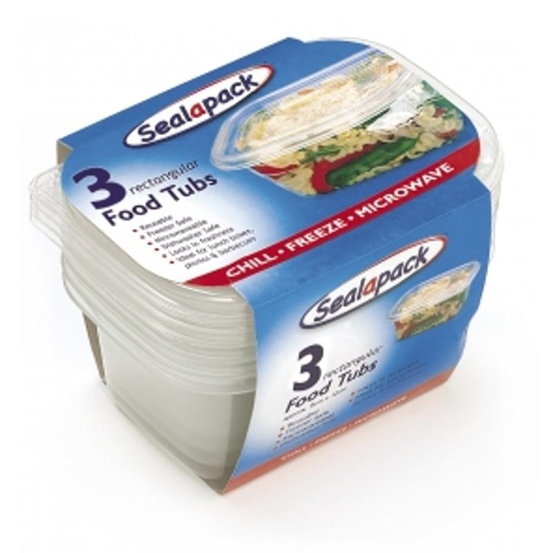 3 Pack Rectangular \food Tub 9x13cm