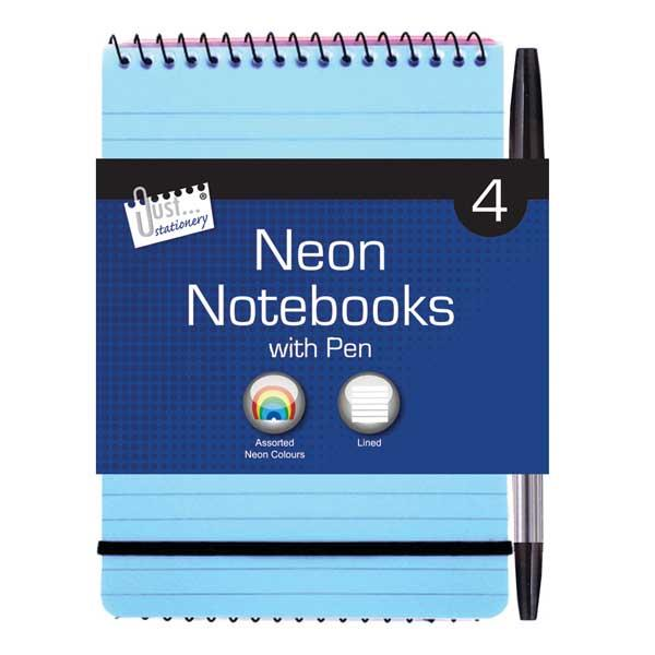 4 Neon PP Cover Notebooks and Pen