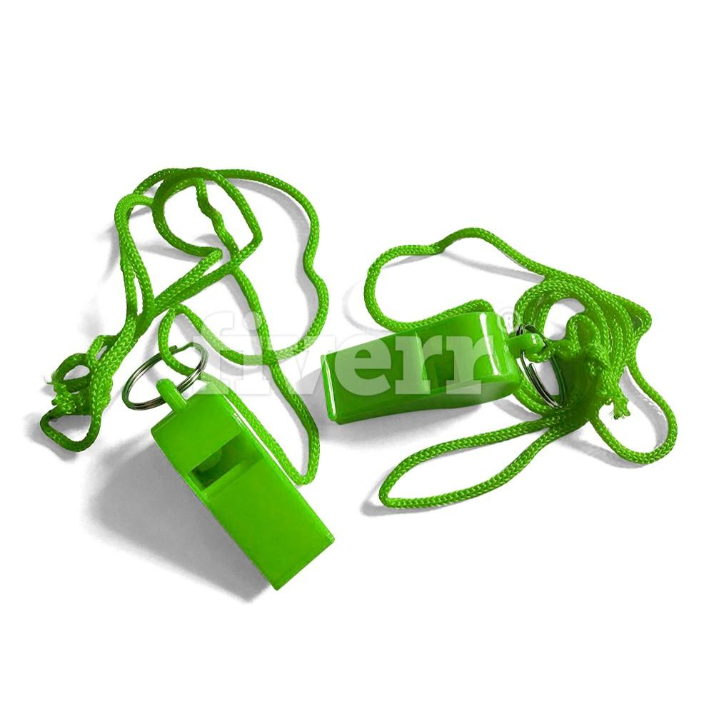 Pack of 15 Green Plastic Whistles with Lanyard Neck Cord