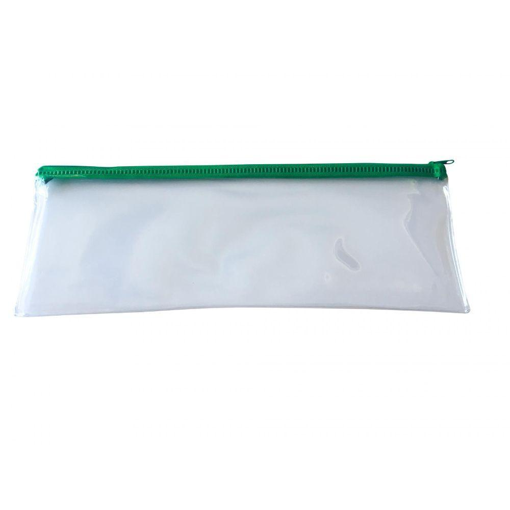 "Janrax 13x5"" Green Zip Clear Exam Pencil Case"