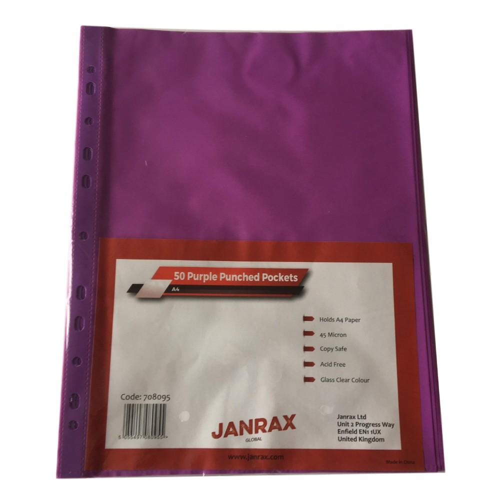 Pack of 50 A4 Purple Punched Pockets by Janrax