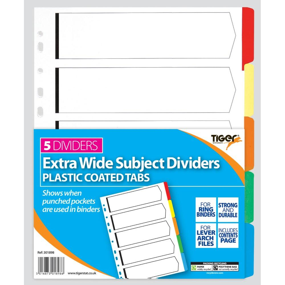 A4 5 Part Extra Wide Card Tab Divider