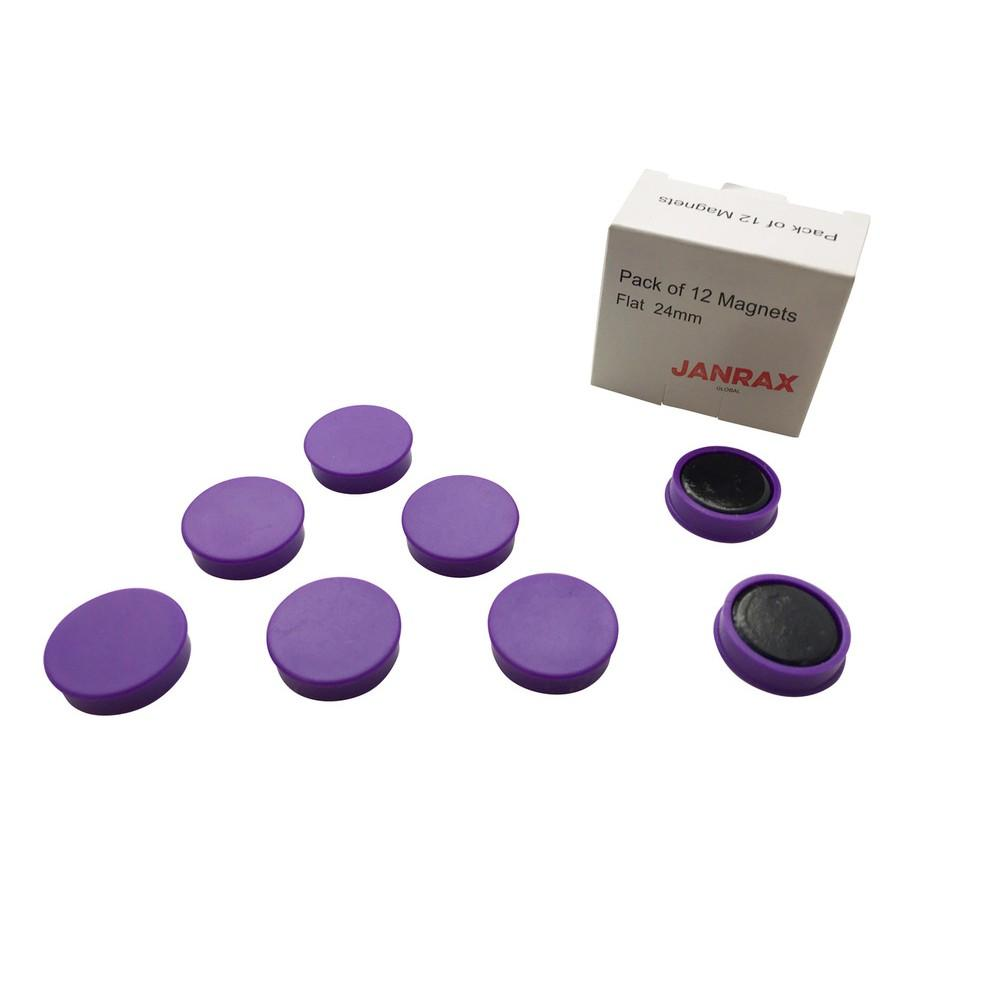Pack of 12 Purple 24mm Magnets