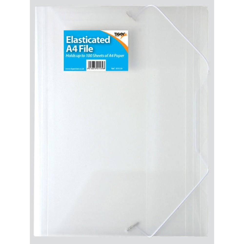 A4 3 Flap Clear Elasticated File