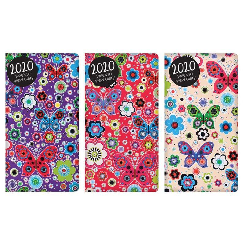 2020 Week to View Slim Diary Bright Flowers & Butterflies Design