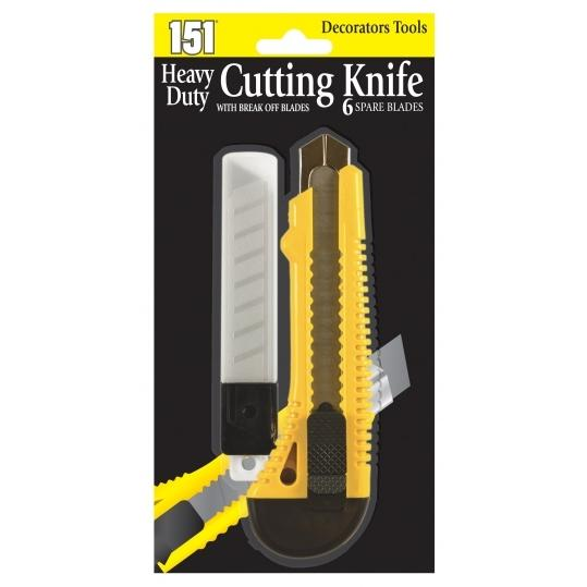 Heavy Duty Cutting Knife and 6 Spare Blades