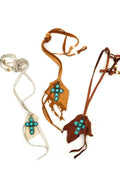 Turquoise Cross Leather Necklace