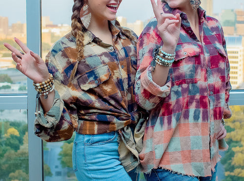 Distressed Flannel Button Up - more colors