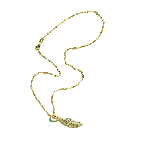 Gold Necklace: Dancing Leaf