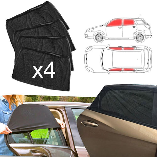 SALE 4pcs Car Front & Rear Side Window Sun Visor Shade Mesh Cover Sunshade  insulation anti-mosquito Fabric Shield UV Protector