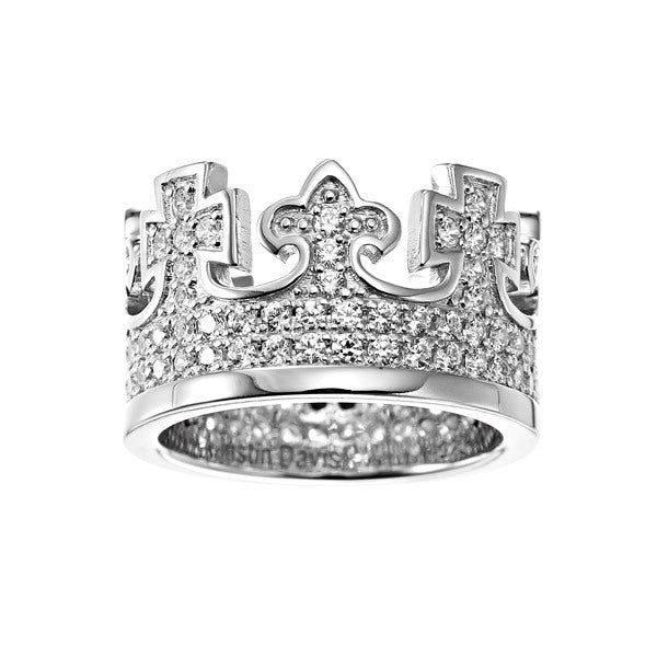 Sterling Silver King Ring with Diamonds