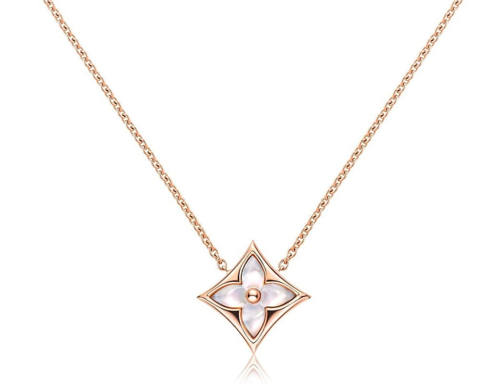 18K Rose Gold and Pearl Flower Pendant