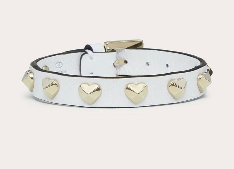 White Leather and Gold Heart Bracelet