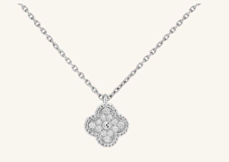 Diamond Clover Necklace in 10k White Gold