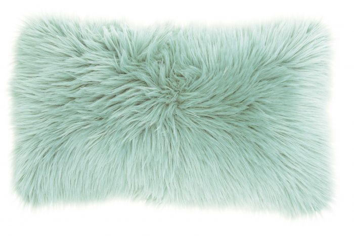 Seafoam Faux Fur Lumbar Pillow