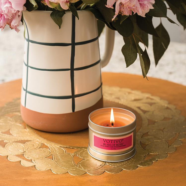 Rush Of Rose, Votivo Candle, Travel Tin