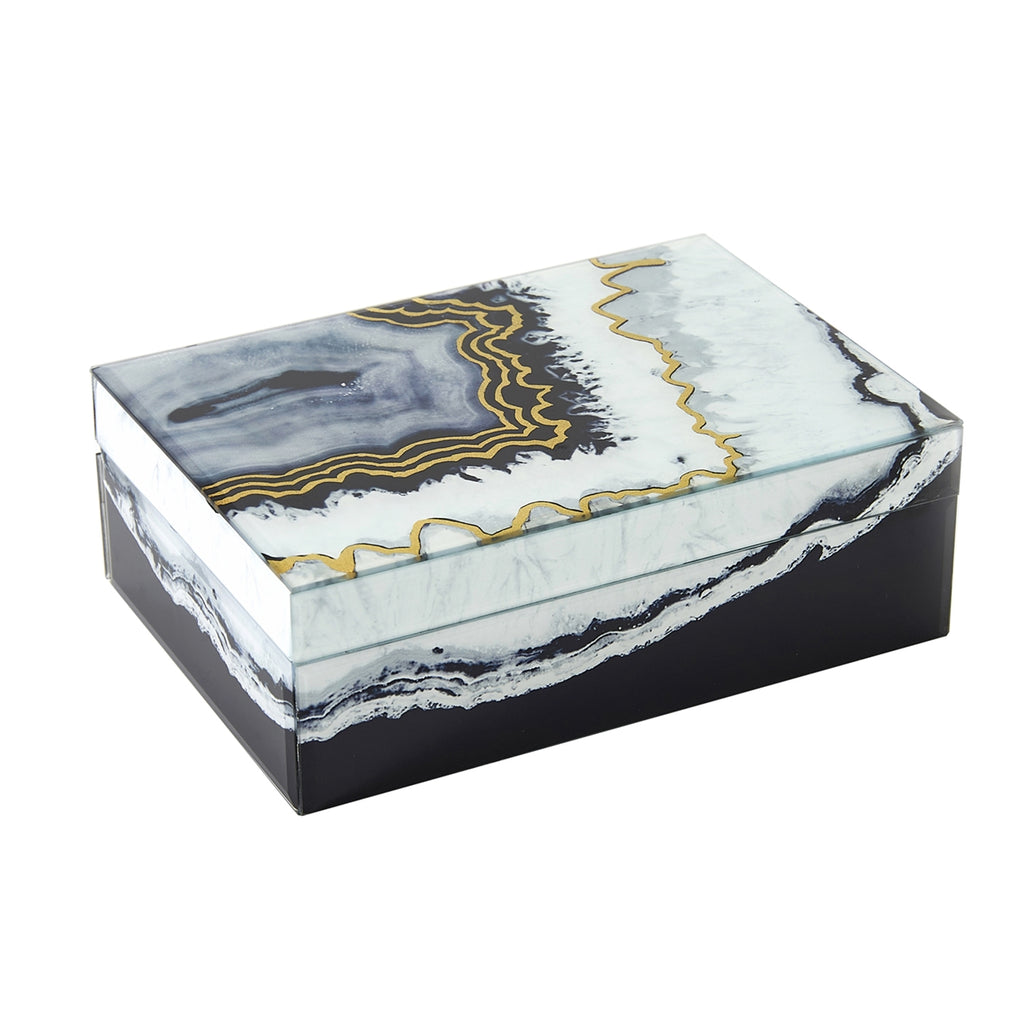 Black/White/Gold Decorative Box, Glass/Wood