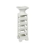 White Slotted Candle Holders, Large