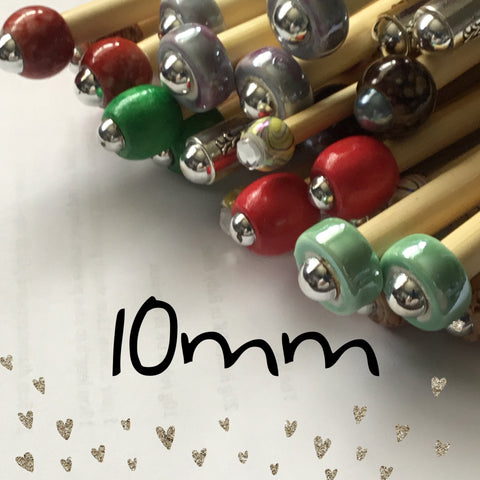 Wholesale 10mm (us size 15) 1 Pair Beaded Knitting Needles Unmarked