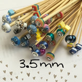 Wholesale 3.5mm (US size 4) 1 Pair Beaded Bamboo Knitting Needles Unmarked