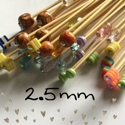 Wholesale 2.5mm (US size 1) 1 Pair Beaded Knitting Needles Unnmarked