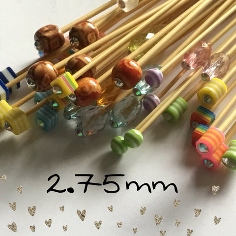 Wholesale 2.75mm (US size 2) 1 Pair Beaded Bamboo Knitting Needles