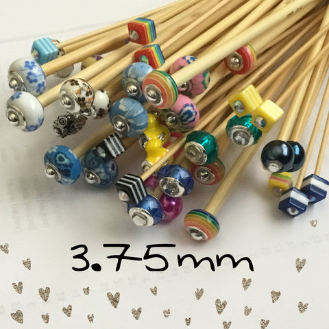 3.75mm (US size 5) 1 Pair Beaded Bamboo Knitting Needles