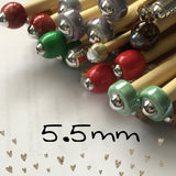 5.5mm (us size 9) 1 Pair Beaded Knitting Needles/Crochet Hook