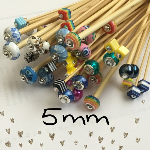 5mm (US size 8) 1 Pair Beaded Bamboo Knitting Needles/Crochet Hook