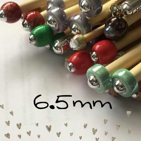 6.5mm (us size 10.5) 1 Pair Beaded Knitting Needles/Crochet Hook
